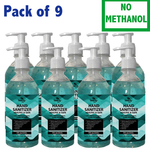 Hand Sanitizer with Pump 16.09 oz Pack of 9 Antibacterial Gel 70% Alcohol- Does Not Contain Methanol