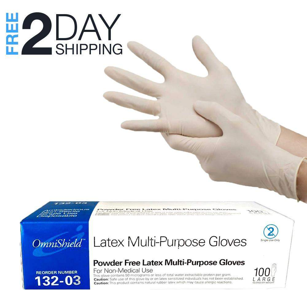 Superpharma Disposable Latex Gloves Large- Powder Free,  Dispenser Pack 100 PCs