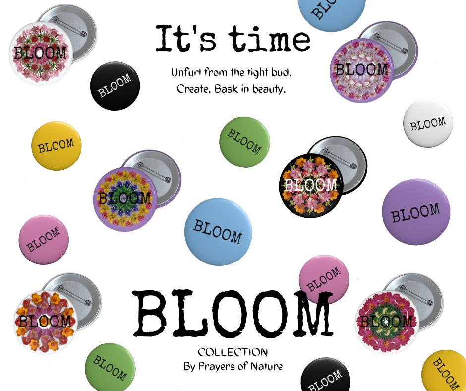 Bloom Collection Pins With Text & Mandalas