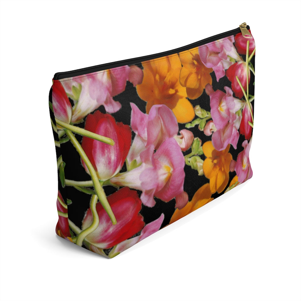 Snapdragon & Tulip Black Pouch
