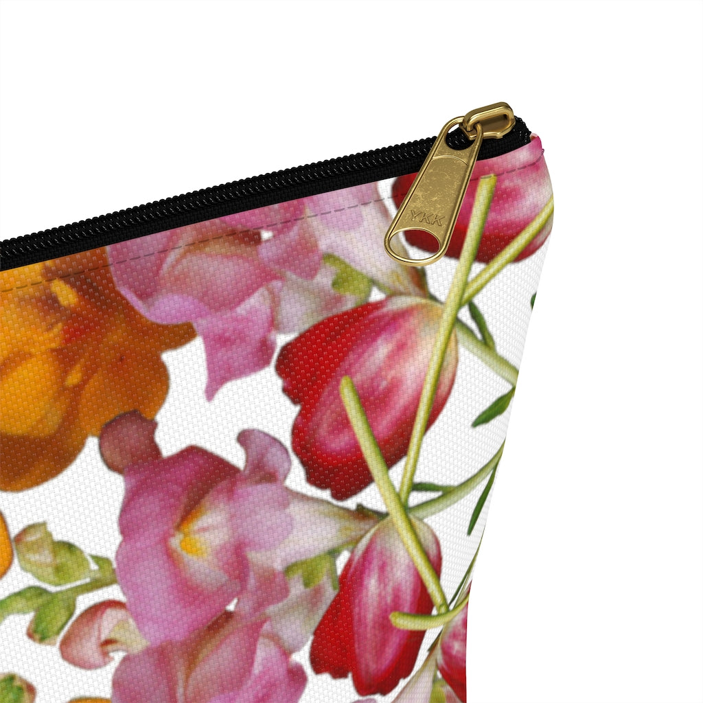 Snapdragon & Tulip White Pouch