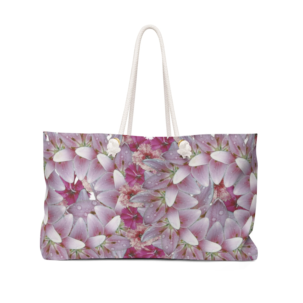 Dianthus & Lily White Weekender Bag