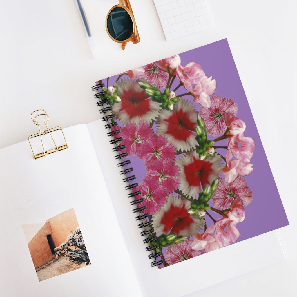 Dianthus & Geranium Purple Spiral Journal