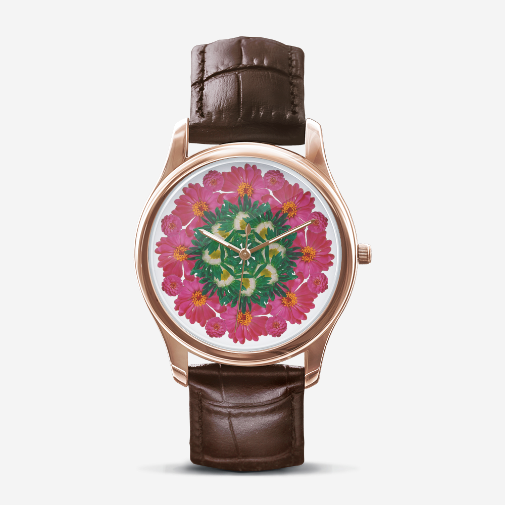 Zinnia & Mum Gold Quartz Watch