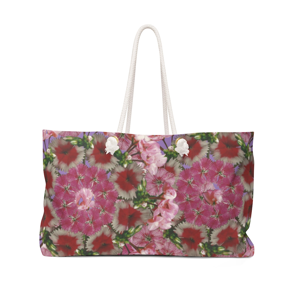 Dianthus & Geranium Purple Weekender Bag