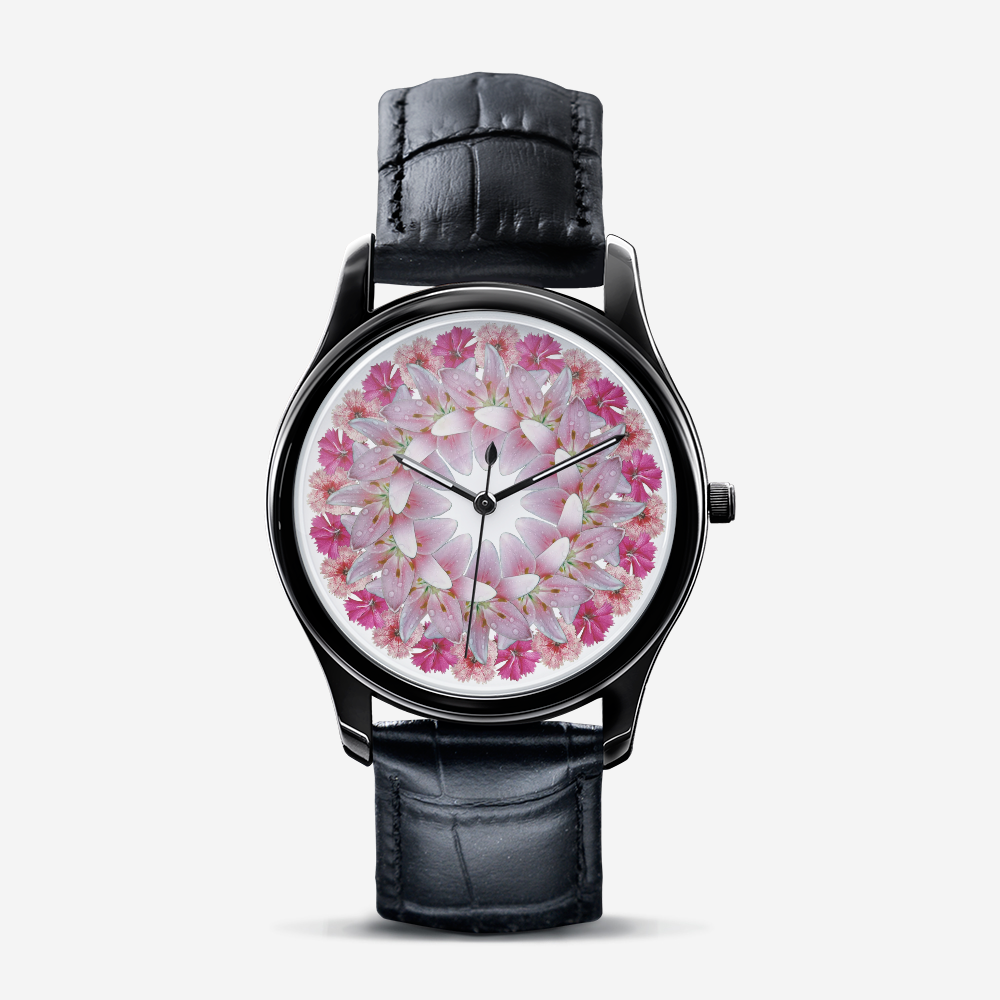 Dianthus & Lily Black Quartz Watch