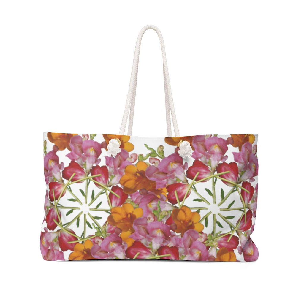 Snapdragon & Tulip White Weekender Bag