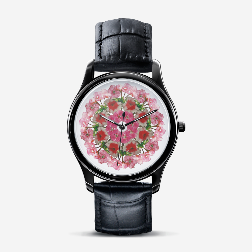 Dianthus & Geranium Black Quartz Watch