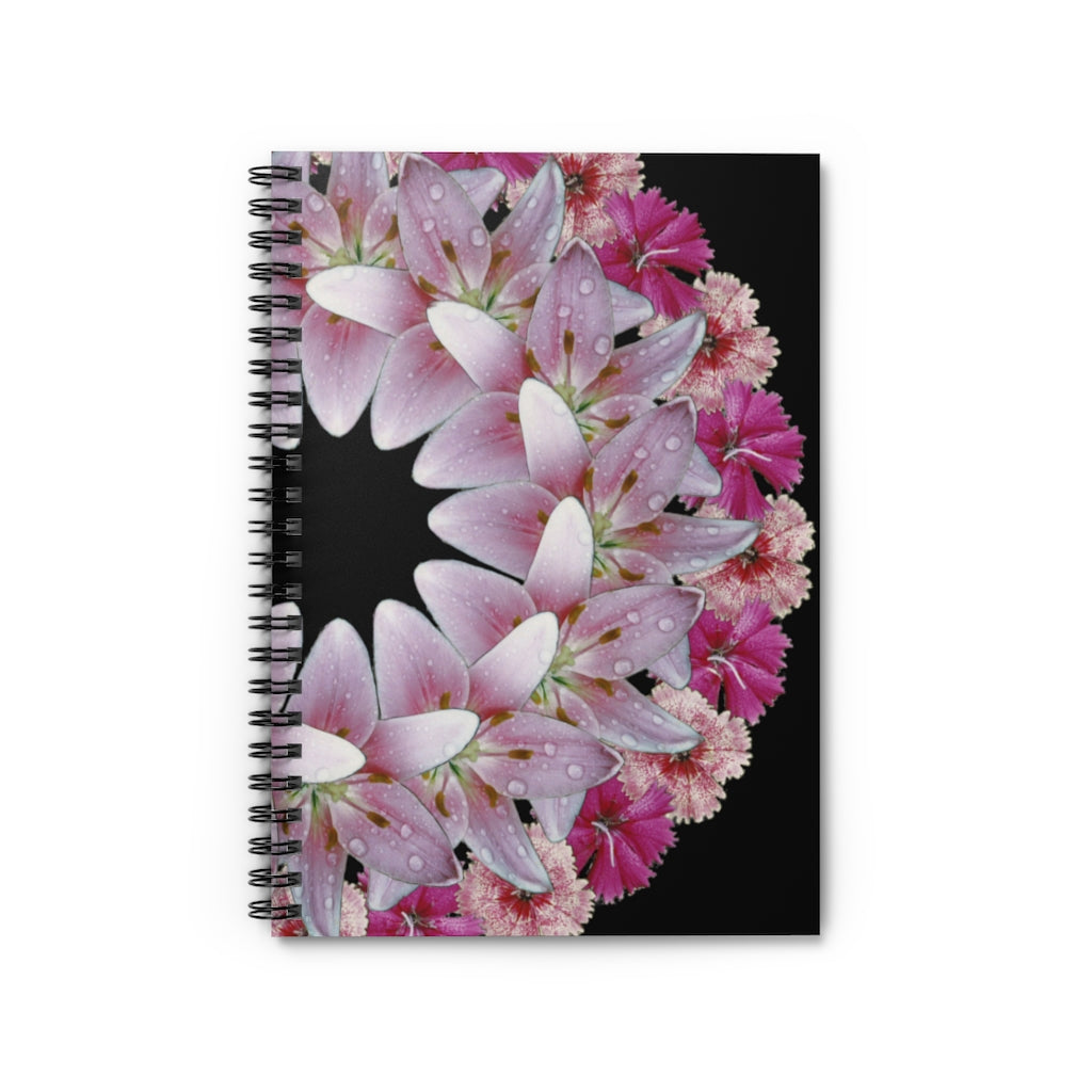 Dianthus & Lily Black Spiral Journal