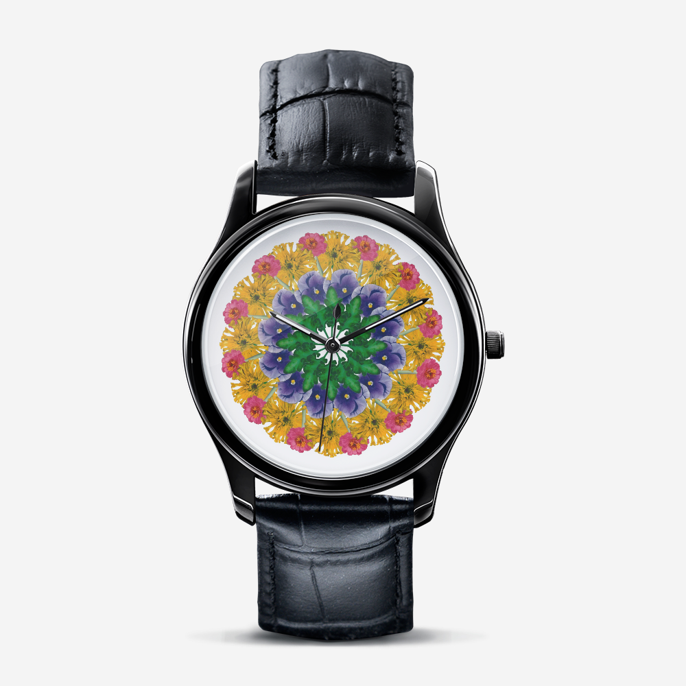 Marigold & Pansy Black Quartz Watch