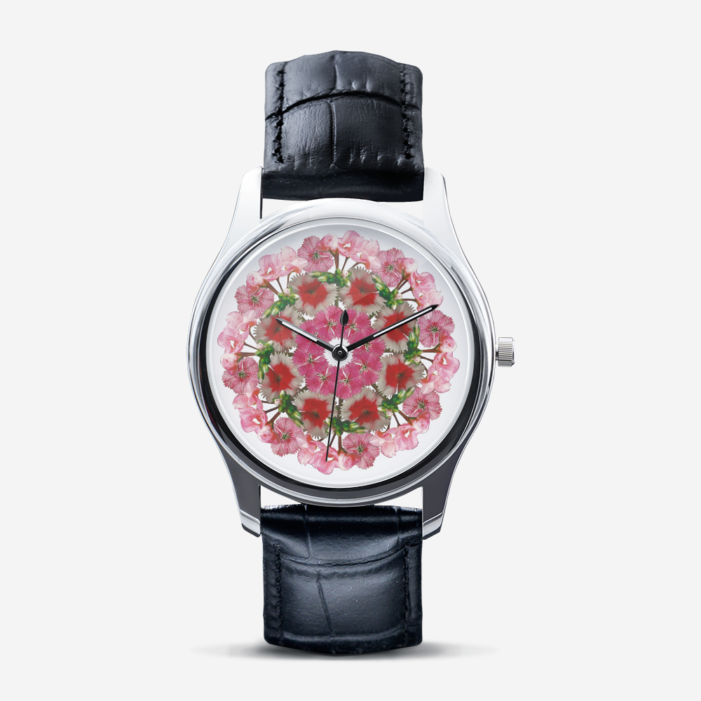 Dianthus & Geranium Silver Quartz Watch