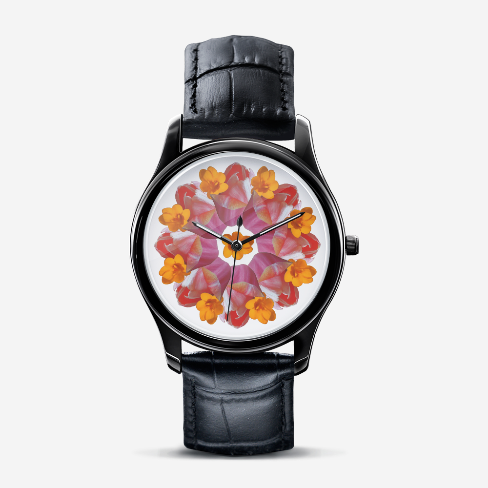 Tulip & Narcissus  Black Quartz Watch
