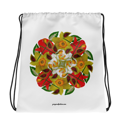 Flower Mandala I Am Complete Drawstring Bag