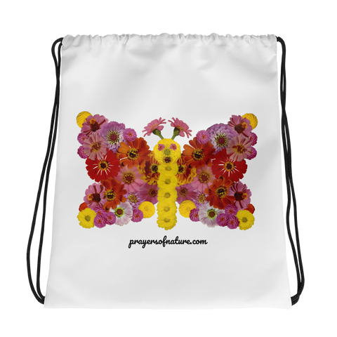 Flower Mandala Butterfly Drawstring Bag