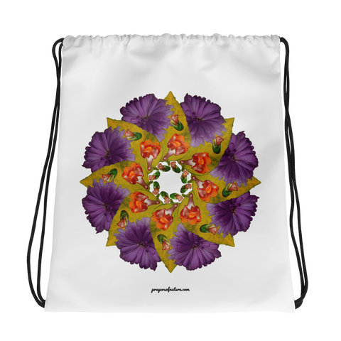 Flower Mandala I Am Strong Drawstring Bag