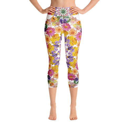 Flower Mandala I Am Confident Yoga Capri Leggings