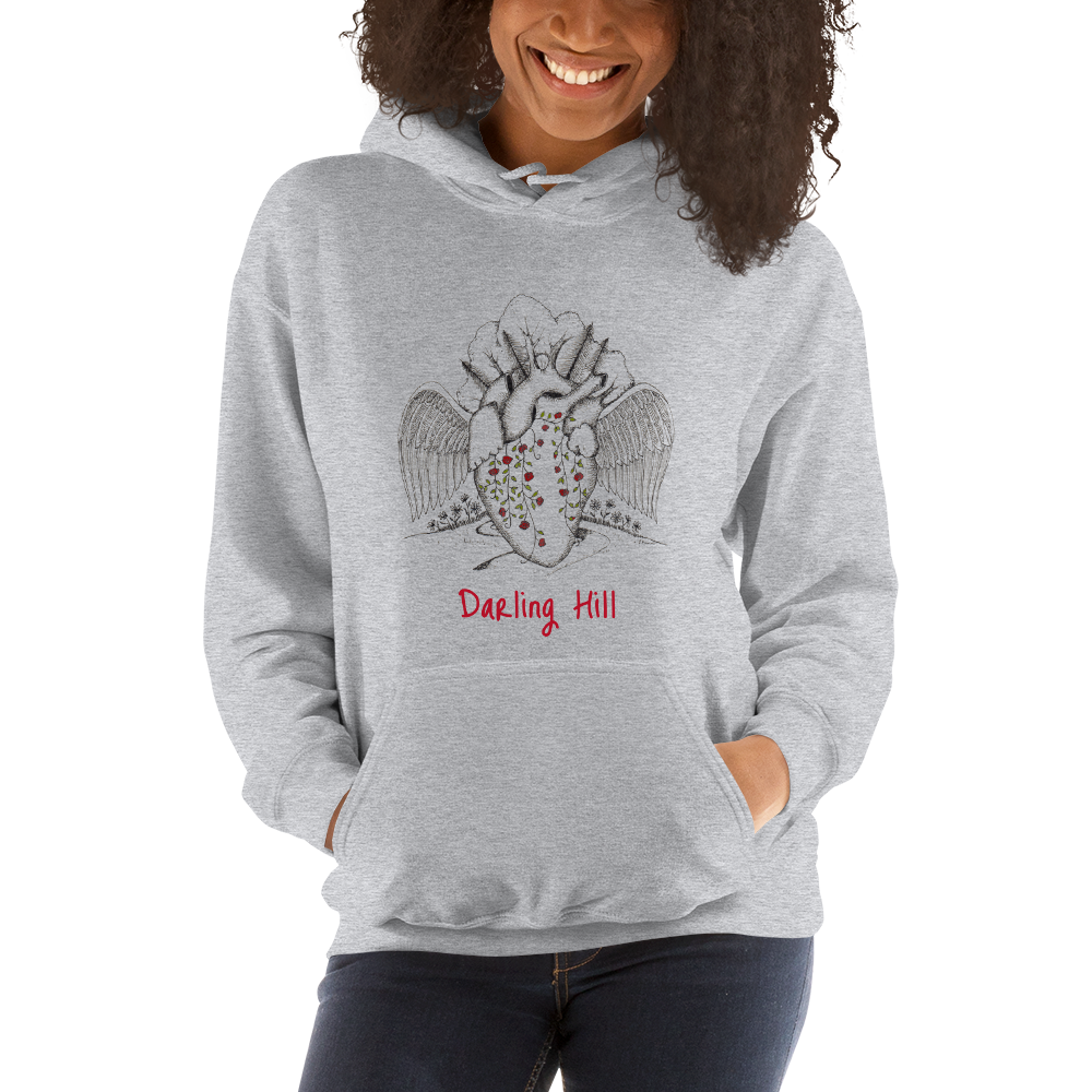 Darling Hill Heart with Wings Double Sided Unisex Hooded Sweatshirt