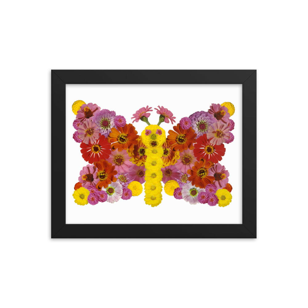 Flower Mandala Butterfly Framed Poster
