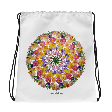 Flower Mandala I Am Confident Drawstring Bag