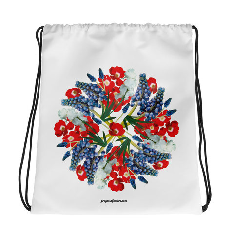 Flower Mandala I Am Proud Drawstring Bag