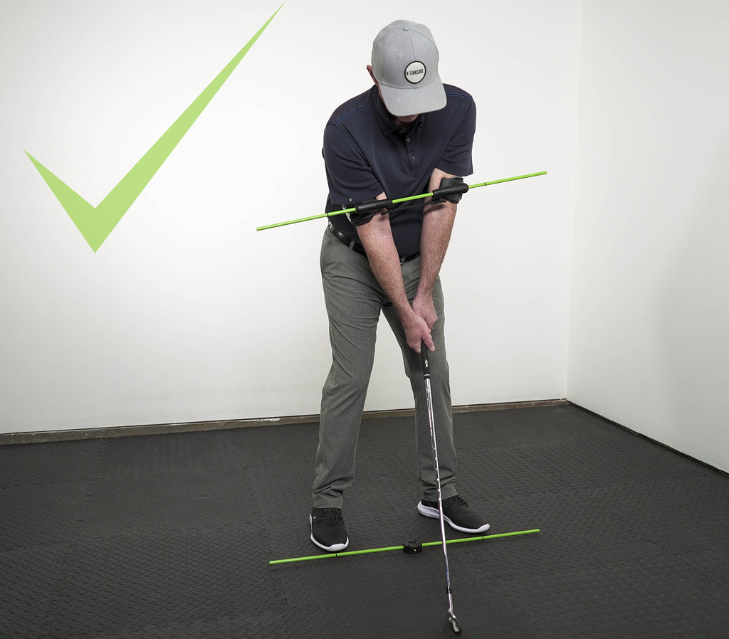 Photo of correct spine angle when using the Swing Align golf swing aid