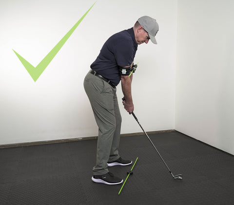 Photo of correct body alignment when using the Swing Align golf swing aid