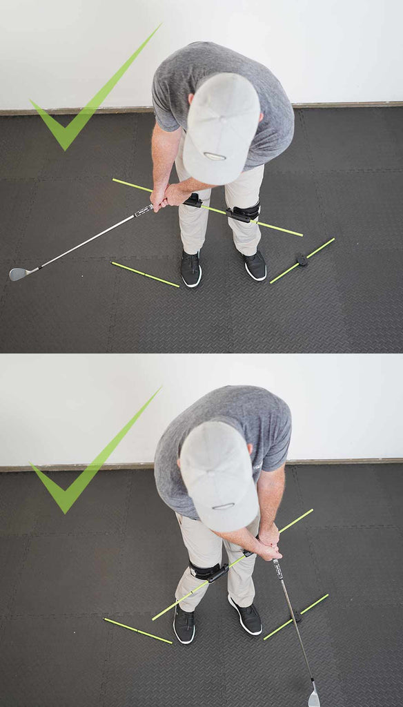 man using the swing align training device to correct his golf chip shot