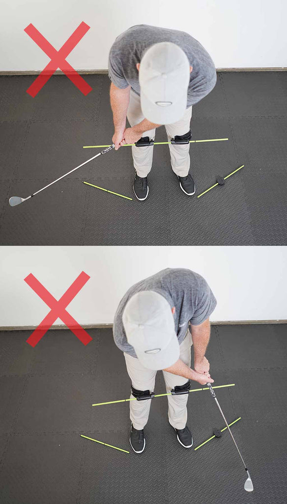 man using the swing align training device to train his golf chip shot incorrectly