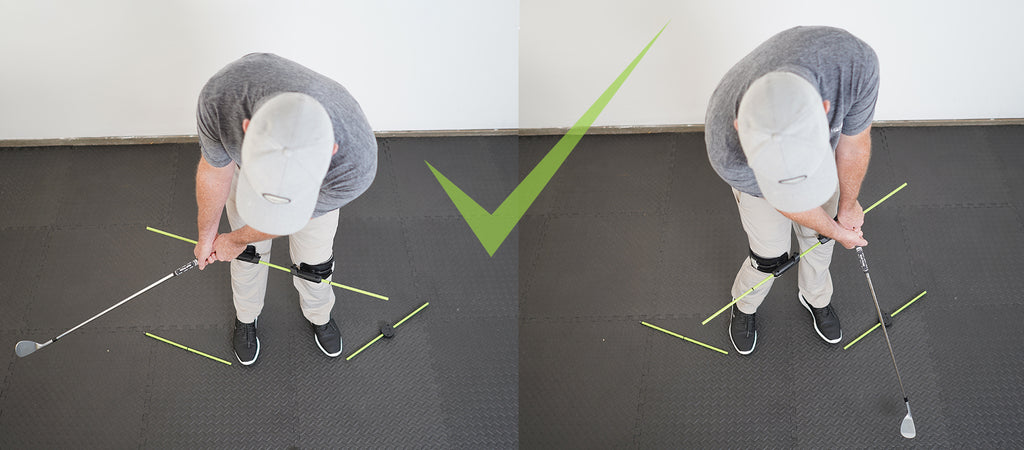 man using the swing align training device correctly