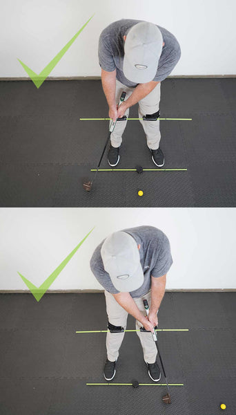 man using the swing align golf trainer to improve his golf swing putting the correct way