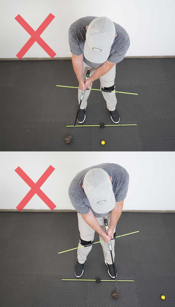man using the swing align golf trainer to improve his golf swing putting the incorrect way