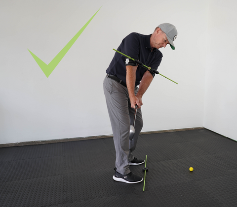 Golf Swing At waist high your club should point down the line of your stance