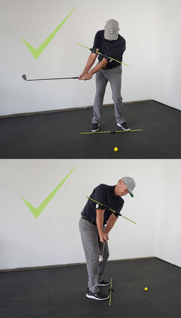 man using the swing align golf swing training aid to correct takeaway
