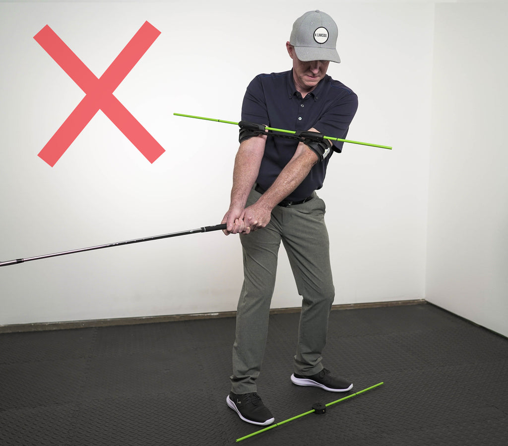 Photo of the incorrect way of using the Swing Align alignment rod