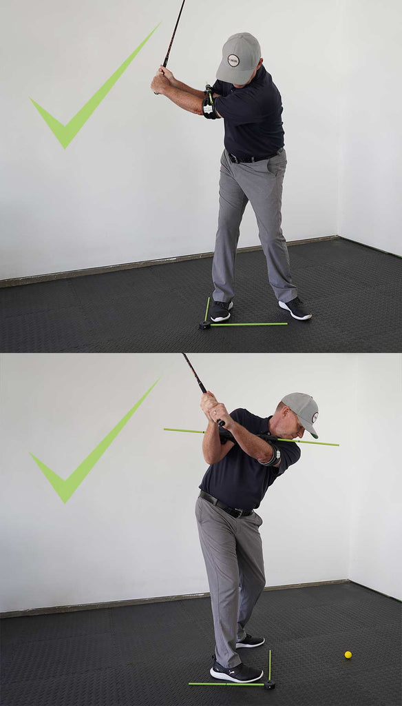 man using swing align golf swing trainer to rotate correctly in his backswing
