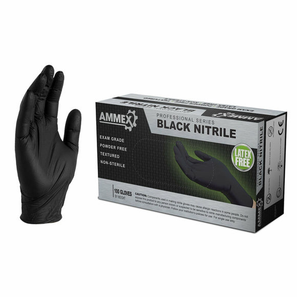 AMMEX PROFESSIONAL BLACK NITRILE GLOVES - 100 PCS