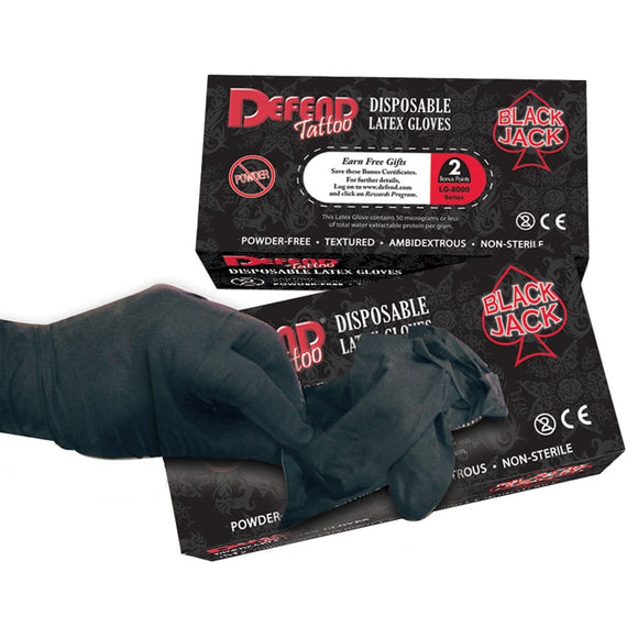 DEFEND BLACK JACK LATEX TATTOO GLOVES - 100 PCS