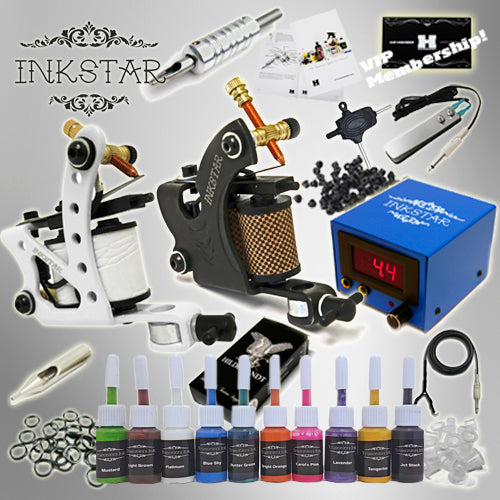 Tattoo Kit: 2 Machines & 10 True Colors Ink set