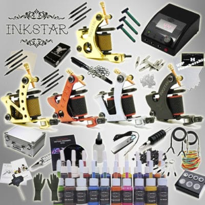 Tattoo Kit: 5 Machines, 20 True Colors Ink Set & Case