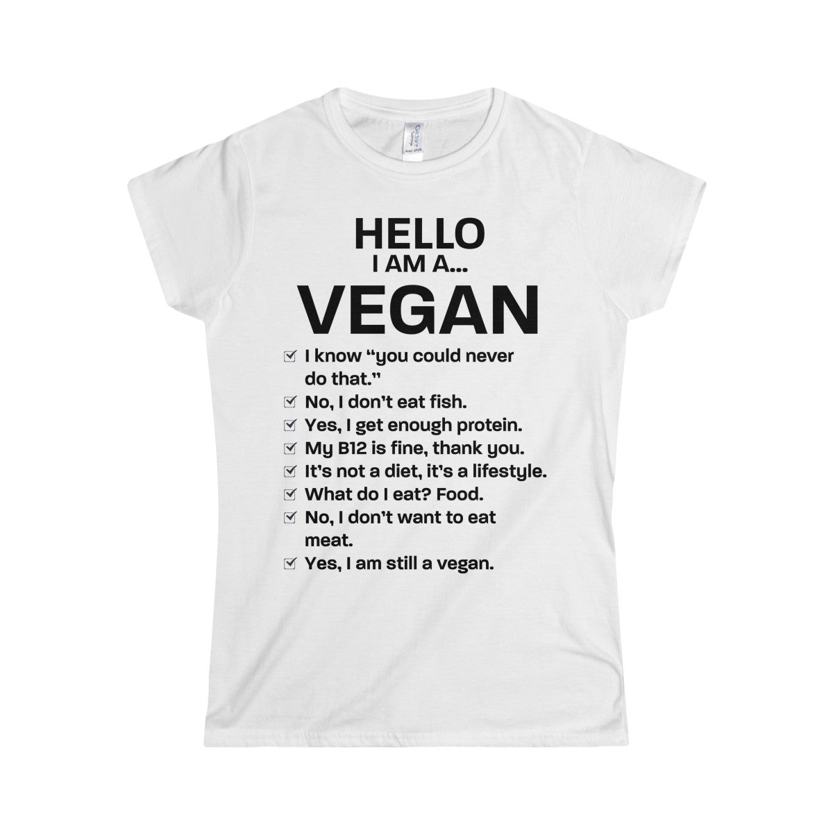 Hello, I am a VEGAN - Slim Fit T-Shirt - My Vegan Menu