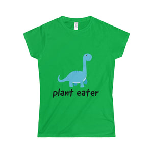 Cute Dinosaur Plant Eater - Slim Fit T-Shirt - My Vegan Menu