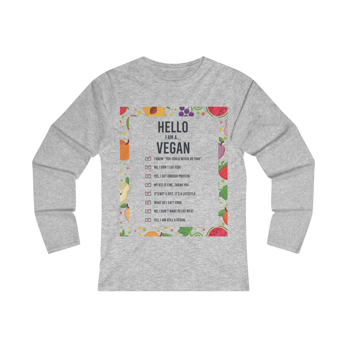 Hello, I am a vegan v3 - Long Sleeve T-Shirt - My Vegan Menu