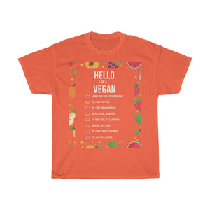 Hello, I am a vegan v2 - Unisex T-Shirt - My Vegan Menu
