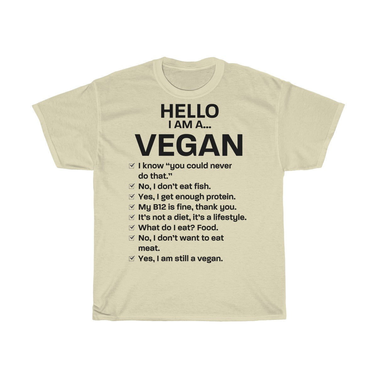Hello, I am a Vegan - Unisex T-Shirt - My Vegan Menu