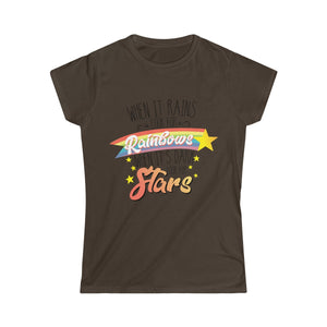 When it Rains, Look for Rainbows, When It's Dark, Look for Stars - Women's Junior Fit T-Shirt - My Vegan Menu