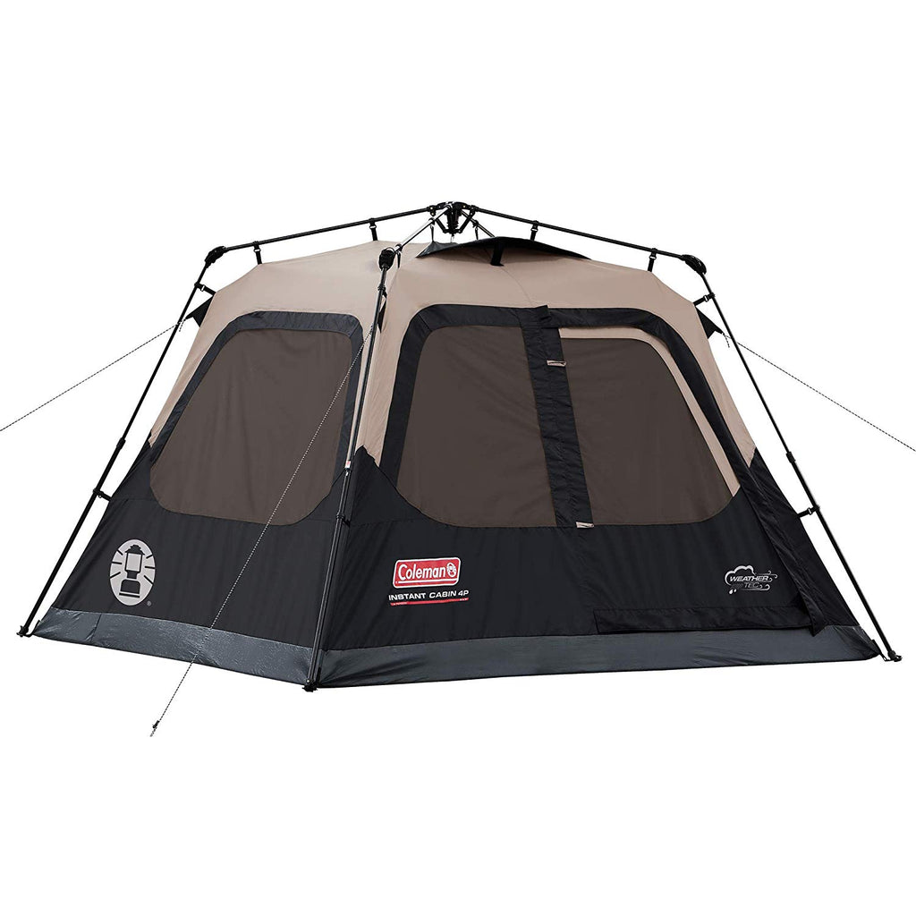 The Coleman Instant Cabin makes getting camp set up quicker and easier than ever. This instant tent has pre-attached poles that make setting up camp as simple as unfolding, extending, and securing. You can assemble the tent in about a minute and then get started on your adventure.