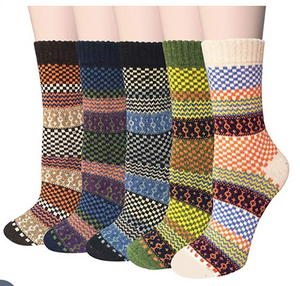 Vintage Wool Socks For Women - 5 Pack