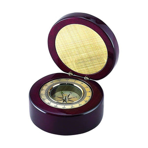 Round Wood Box with Compass