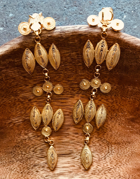 Citrin and Gold Chandelier Earrings