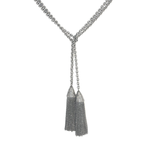 Diamond and Oxidized Silver Lariat